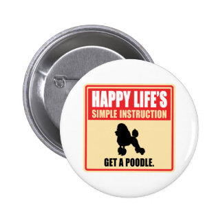 Poodle 2 Inch Round Button
