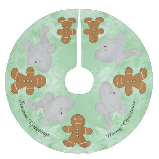 Poodle and Gingerbread Man Brushed Polyester Tree Skirt