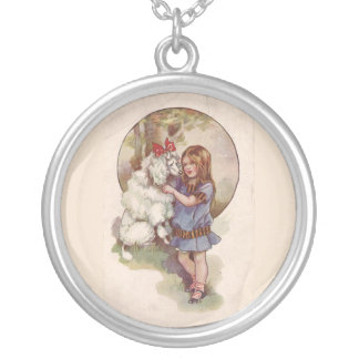 Poodle and Girl Vintage Necklace
