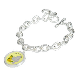 Poodle and Yellow Roses Charm Bracelets