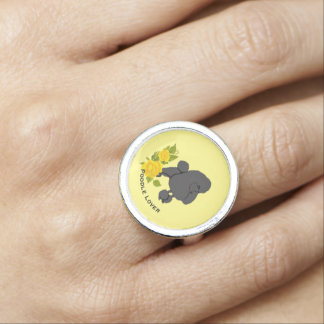 Poodle and Yellow Roses Rings