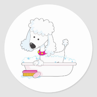 Poodle Bath Round Sticker