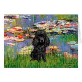 Poodle (black 1) - Lilies 2 Card