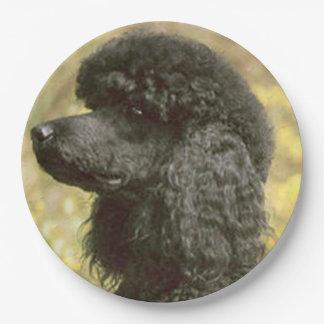 poodle black paper plate