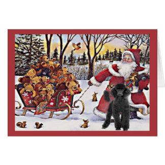 Poodle Christmas Card Santa Bears In Sleigh