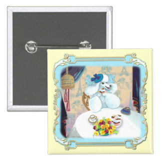 Poodle Cupcake Tea Party 2 Inch Square Button