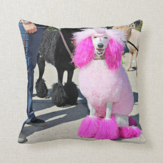 Poodle Day 2016 - Barnes - Pink Standard Poodle Throw Pillow