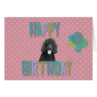 Poodle Dog Happy Birthday Pink Polka Greeting Card