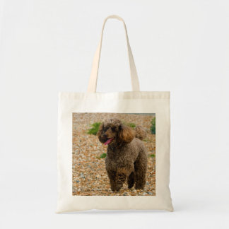 Poodle dog miniature beautiful photo at beach tote bag