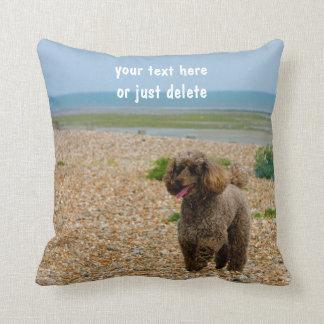 Poodle dog miniature photo at beach custom cushion
