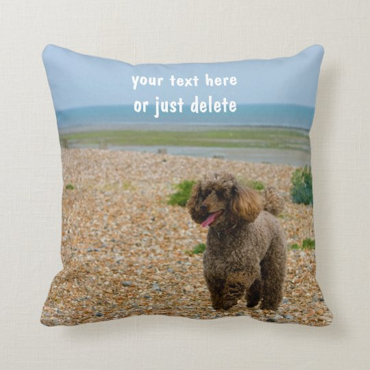 Poodle dog miniature photo at beach custom cushion