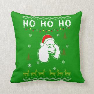 Poodle Dog Ugly Christmas Ho Ho Ho Throw Pillow