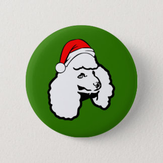 Poodle Dog with Christmas Santa Hat 2 Inch Round Button