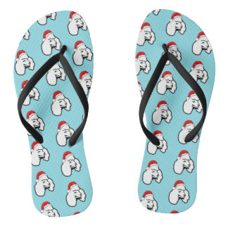 Poodle Dog with Christmas Santa Hat Pattern Flip Flops
