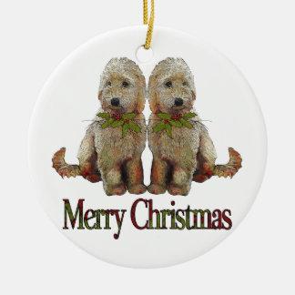 Poodle, Golden Doodle Couple Christmas: Art Ceramic Ornament