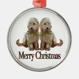 Poodle, Golden Doodle Couple Christmas: Art Metal Ornament