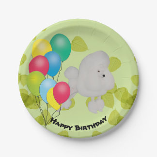 Poodle Happy Birthday Balloons Paper Plate