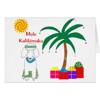 Poodle Hawaiian Christmas Card