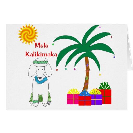 Poodle Hawaiian Christmas Cards