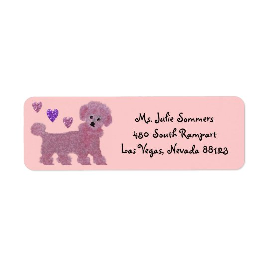 Poodle Heart Return Address Labels