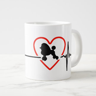 poodle heartbeat design large coffee mug