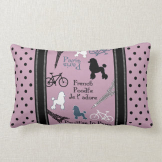 Poodle in Paris Lumbar Pillow
