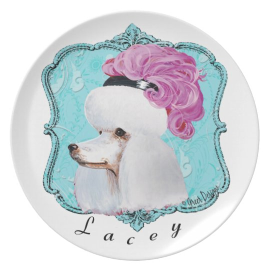 Poodle in Pink Feather Hat Plate
