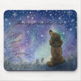 Poodle looking to the stars mouse-mat gift for Nan Mouse Pad