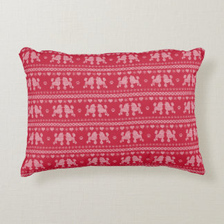 Poodle Love Christmas Sweater Pattern Accent Pillow