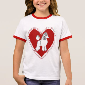 Poodle Love Girl's Ringer T-Shirt