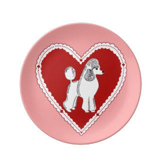 Poodle Love Pink Decorative Porcelain Plate