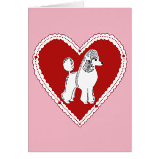 Poodle Love Pink Red White Greeting Card