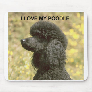 poodle love w pic black mouse pad