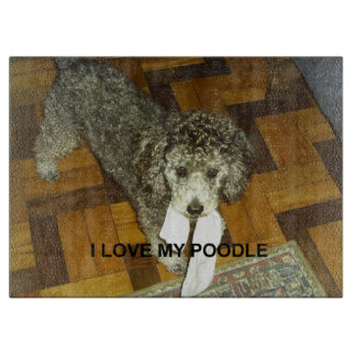 poodle love w pic silver cutting board