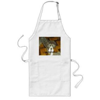 poodle love w pic silver long apron