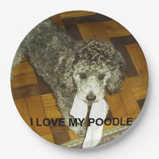 poodle love w pic silver paper plate