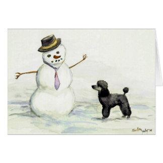 """""""Poodle Meets Snowman"""" Dog Art Card"""