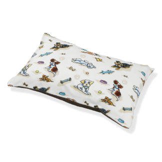 Poodle Mix-ing It Up White Small Dog Bed