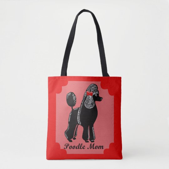 Poodle Mom Pink, Red, and Black Tote Bag