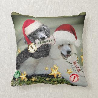 Poodle Naughty or Nice Christmas Pillow