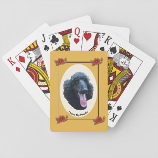 Poodle on Autumn Floral Poker Deck