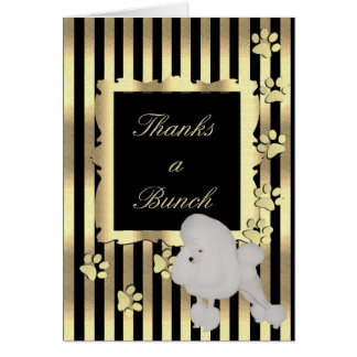 Poodle on Black and Gold Card