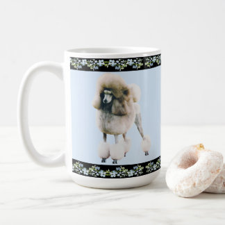 Poodle on Black Blue Bells Coffee Mug