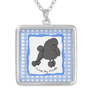 Poodle on Blue Gingham Silver Plated Necklace