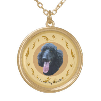 Poodle on Brown Swirls Gold Plated Necklace