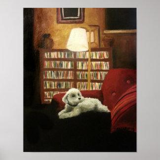 Poodle on Chair Pet Portrait Poster