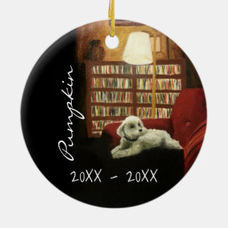 Poodle on Chair Pet Portrait with Text Ceramic Ornament