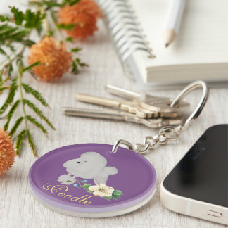 Poodle on Purple with Flower Double-Sided Round Acrylic Keychain