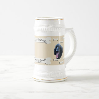 Poodle on Tan with Dog Bones Beer Stein