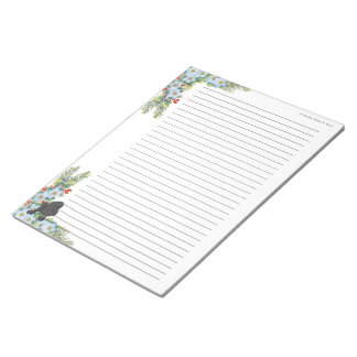 Poodle on Winter Floral [lined] Notepad